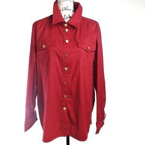 Bob Mackey Red Button down Cuffed Shirt